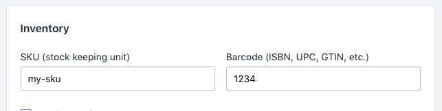 Image of SKU and ISBN in Shopify