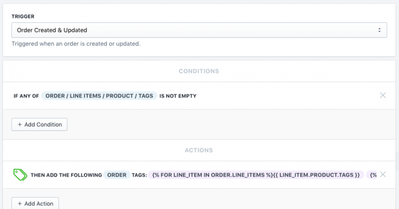 Setup showing how to transfer tags from products to orders in Shopify using Mr. Arigato