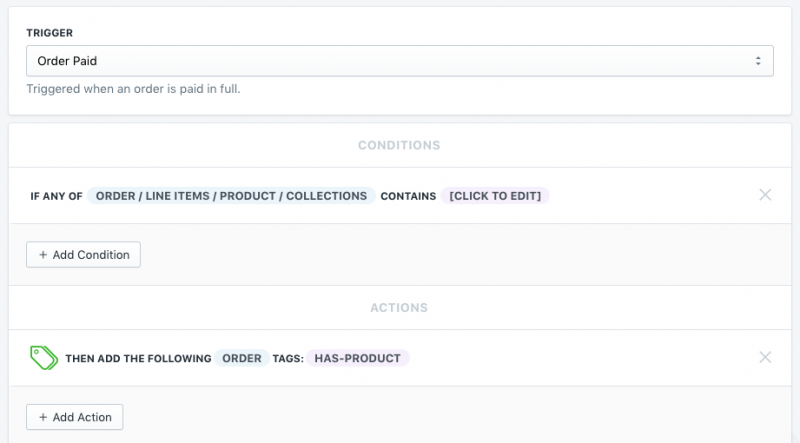 Setup showing how to tag orders from a certain collection in Shopify using Mr. Arigato