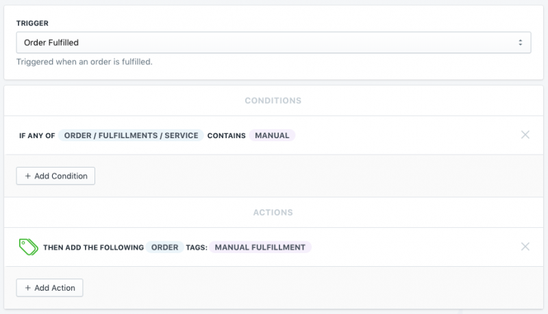 Setup showing how to tag an order if it uses a special fulfillment service in Shopify using Mr. Arigato