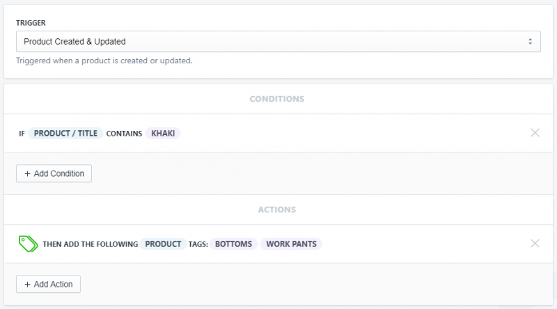 Setup showing how to tag on product title in Shopify using Arigato Automation