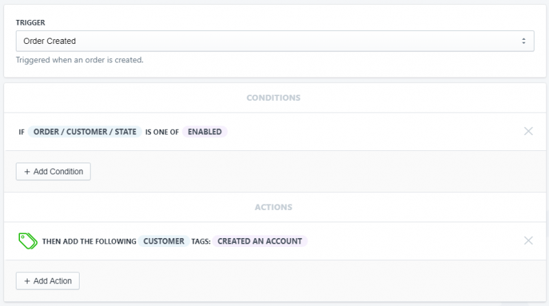 Setup showing how to tag a customer who has an account in Shopify using Arigato Automation