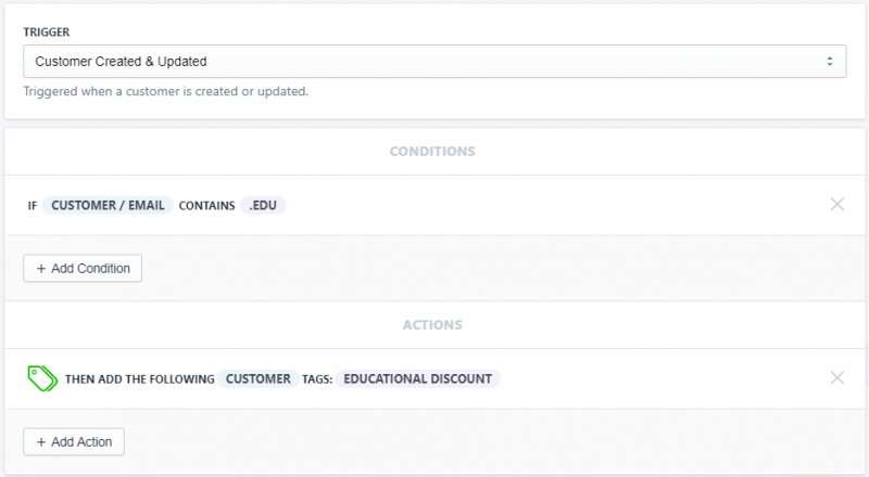 Setup showing how to tag educational customers when they have a .edu email address in Shopify using Mr. Arigato Task Automator