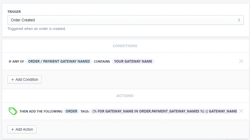 Setup showing how to tag orders by payment gateway in Shopify using Arigato Automation