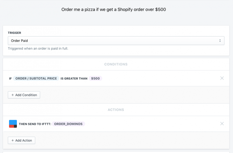 Send me a pizza from domino's if we get an order over 500 bucks