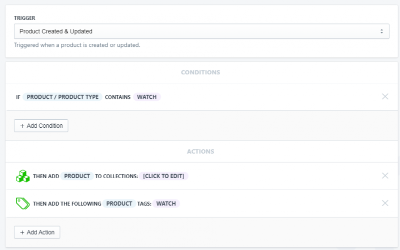 Setup showing how to tag and add a new product to collections by product type in Shopify using Arigato Automation