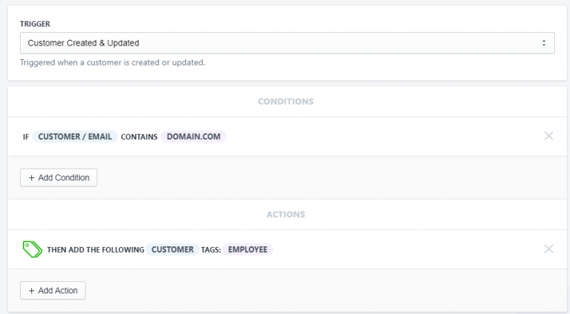 Setup showing how to tag employees customer accounts by email domain in Shopify using Arigato Automation