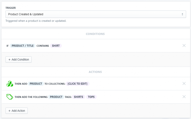 Setup showing how to tag a new product by title, sku, and variant titles in Shopify using Arigato Automation