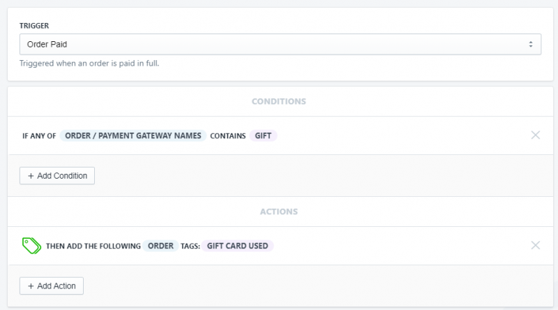 Setup showing how to tag orders paid with gift card in Shopify using Arigato Automation