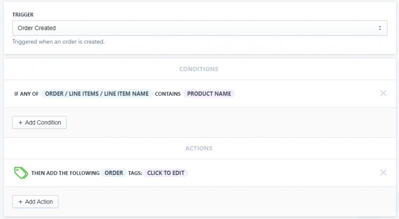 Setup showing how to tag orders that include specific products in Shopify using Arigato Automation