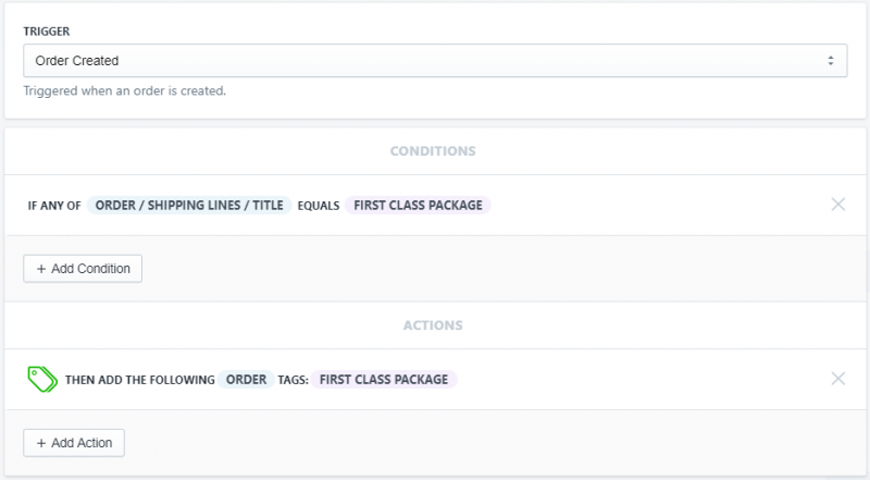 Setup showing how to automatically tag orders that used a specific shipping method in Shopify using Mr. Arigato Task Automator