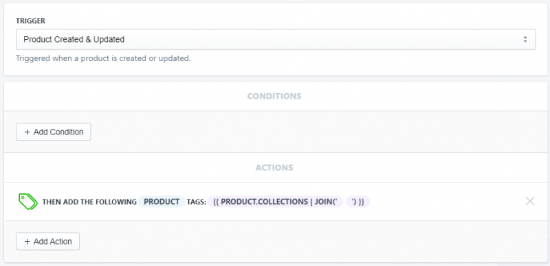 Setup showing how to add a tag for each collection a product is in for Shopify using Arigato Automation