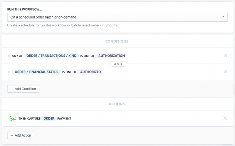 setup showing how to capture authorized payments daily in shopify using Arigato Automation