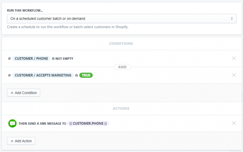 Setup showing how to Send all customers a batch text about a sale using arigato automation in shopify